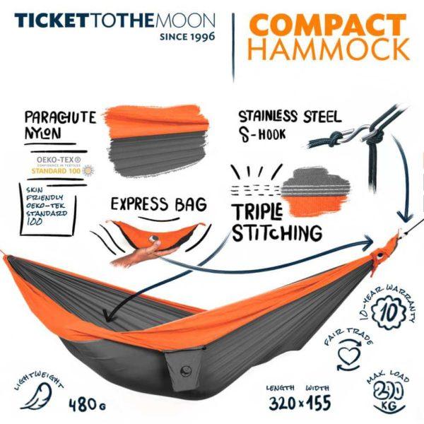 Hamac Ticket to the Moon Single Dark Grey - Orange