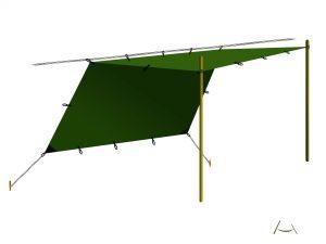 Tenda prelata- 3 ancorari de baza: Lean-to